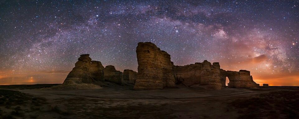 Kansas Panoramic Shot Of The Milky Way Over The Monument Rock