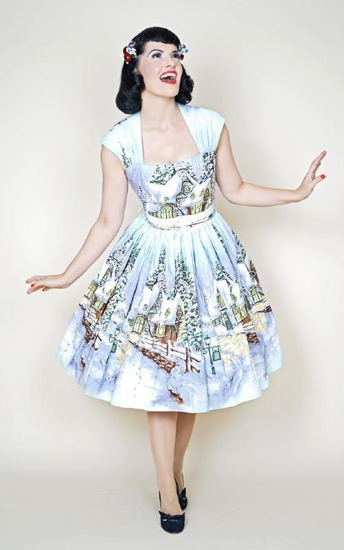 0f459e18be Bernie Dexter Veronique Pin Up Dress in Winter Wonderland