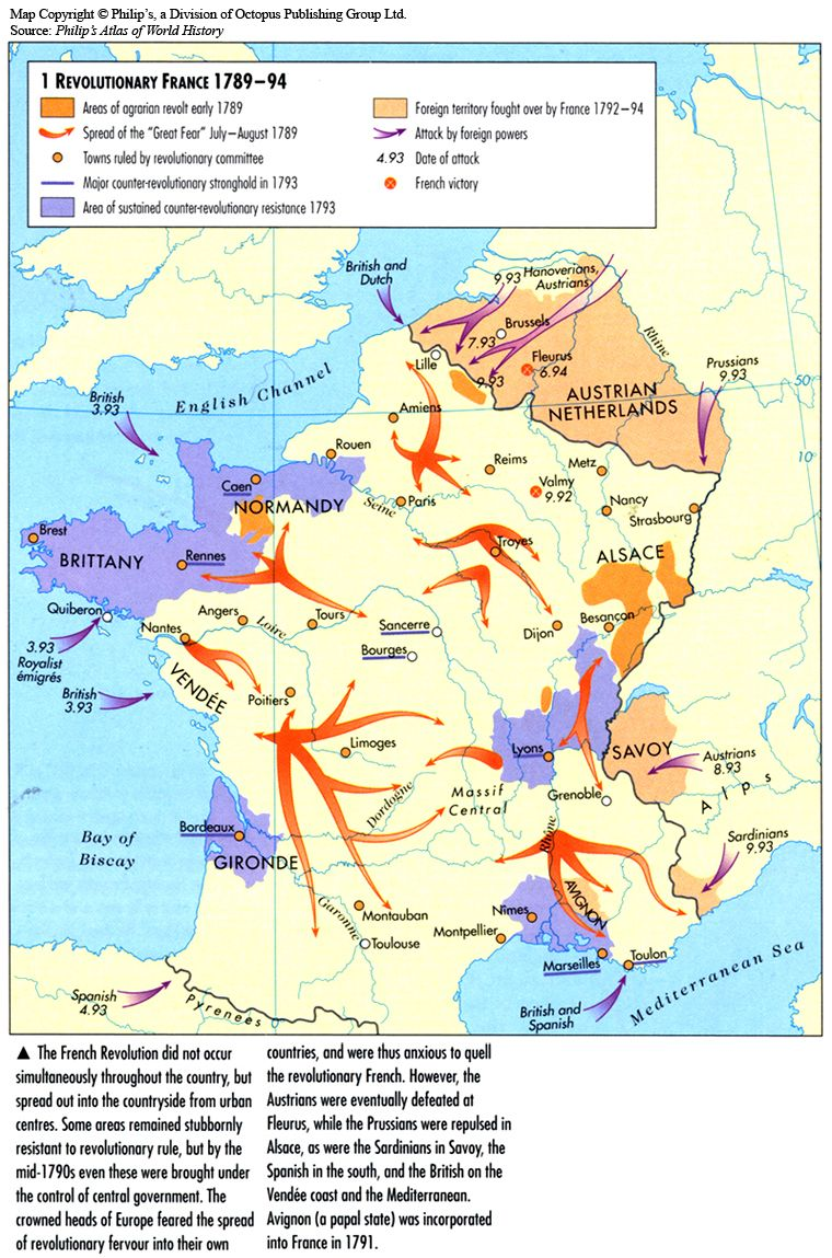 Outline Political Map Of France.1789 1794 Revolutionary France French Revolution Maps Charts