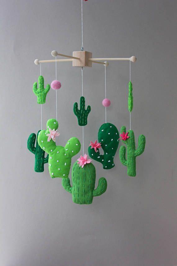 cacti mobile cactus mobile felt cactus cactus nursery decor crib mobile cactus cactus decor desert cactus mobile baby baby mobile cot mobile