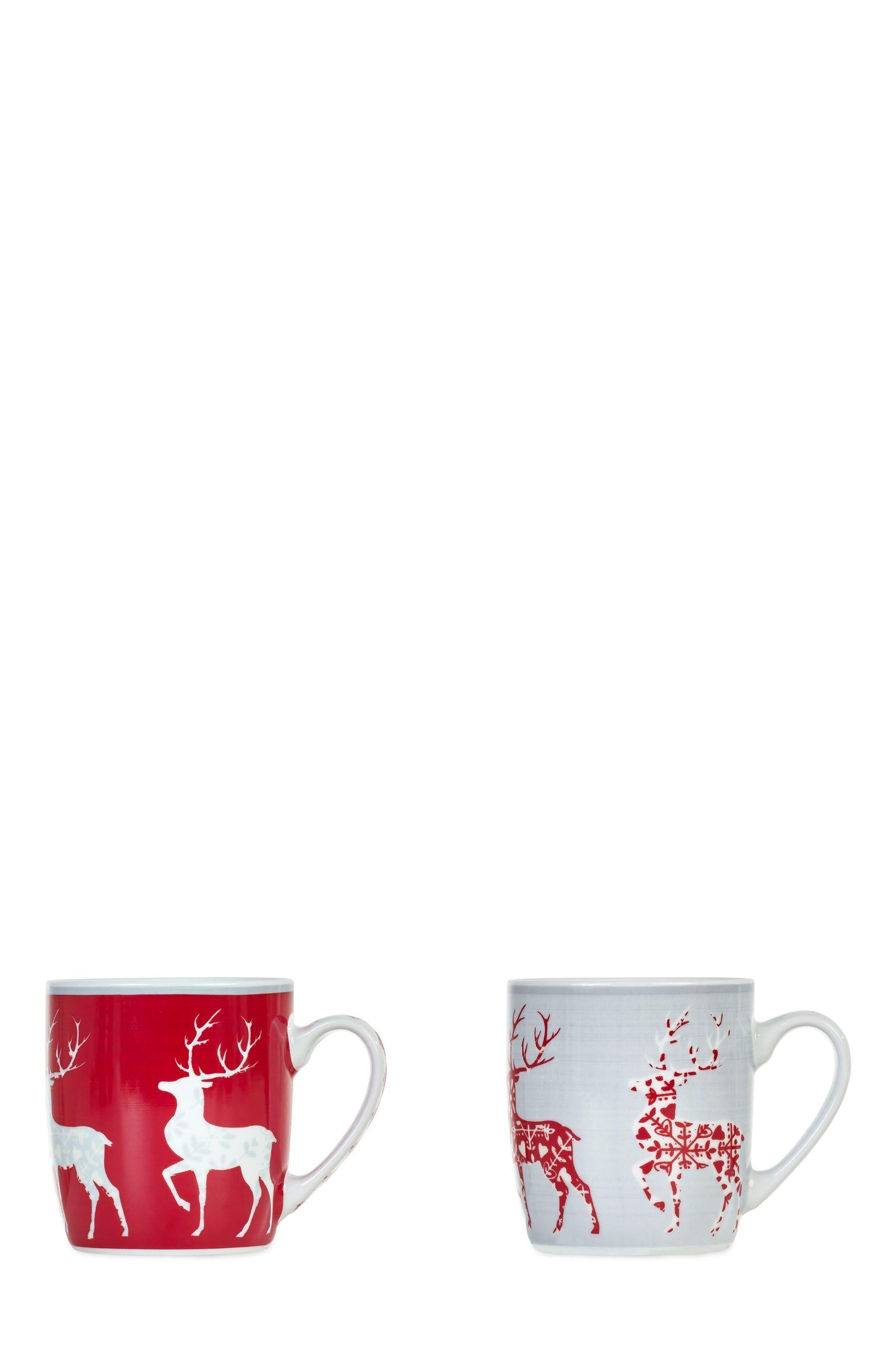 Buy Set Of 2 Reindeer Mugs From The Next Uk Online Shop Christmas Tableware Christmas Dinnerware Mugs