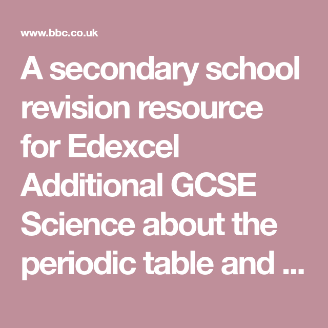A Secondary School Revision Resource For Edexcel Additional Gcse Science About The Periodic Table And Its Structure Covalent Bonding