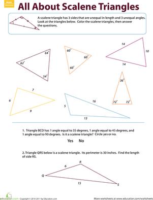 Scalene Triangles Worksheet Education Com Third Grade Geometry Worksheets Triangle Worksheet Geometry Worksheets