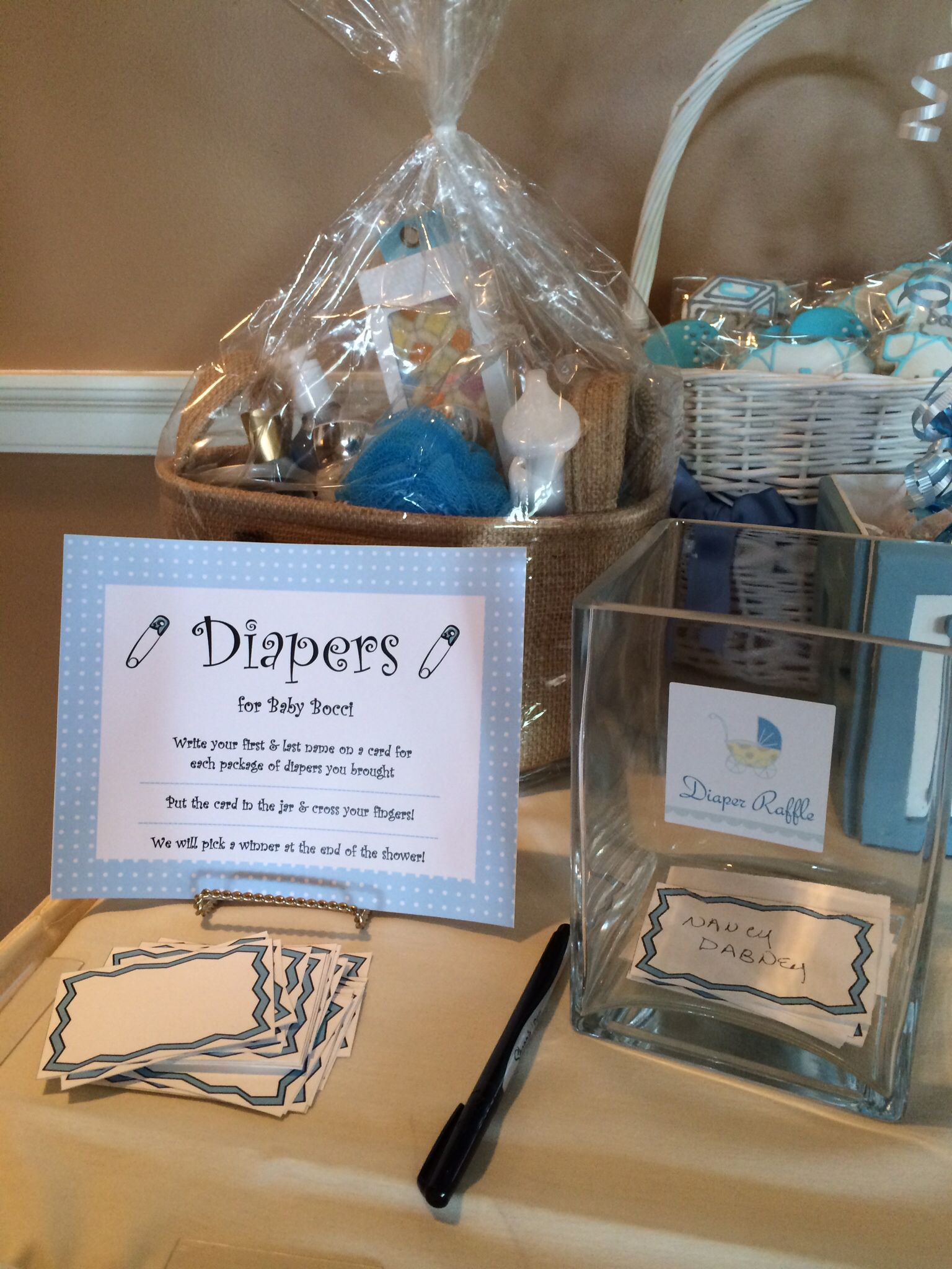 Baby Shower Diaper Raffle & Bath & Body Works gift basket for ...
