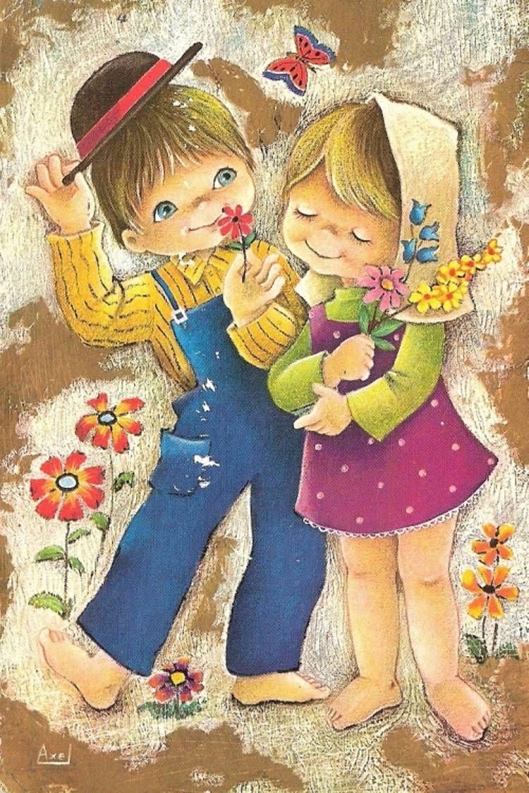 Старинные открытки с детьми рисованные, днем