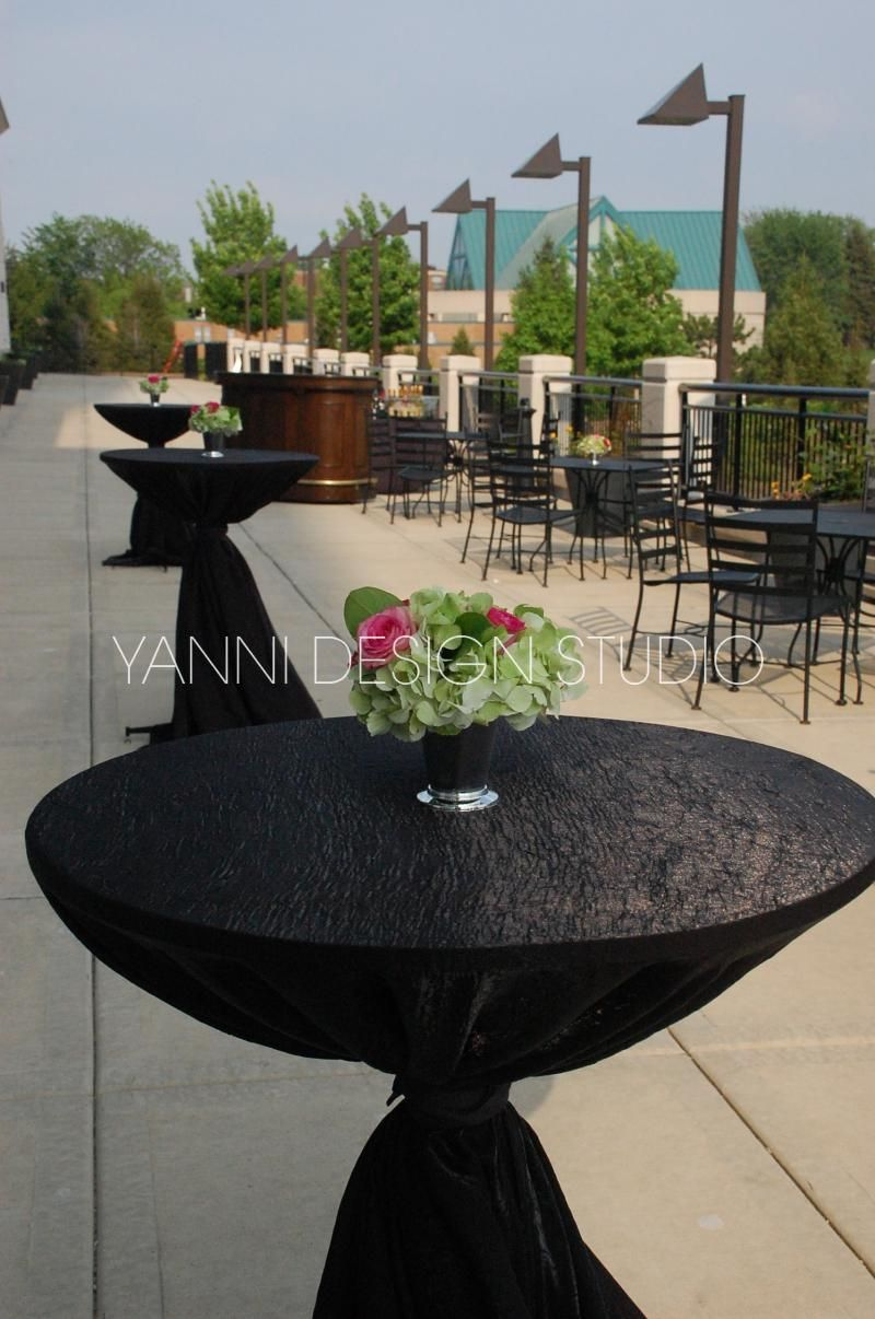 Black Tablecloths And A Centerpiece Create The Perfect Hour Decorations Westin Lombard Yorktown Center