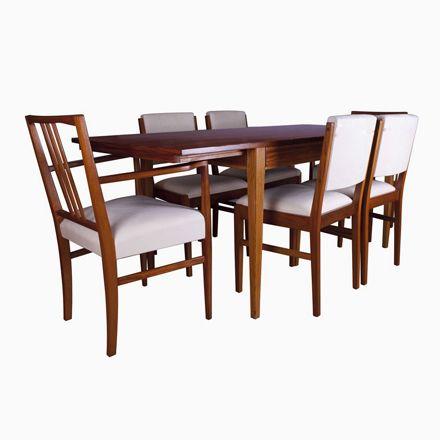 Britischer Esstisch mit Stühlen aus Tulpenholz von Gordon Russell - küchentische und stühle