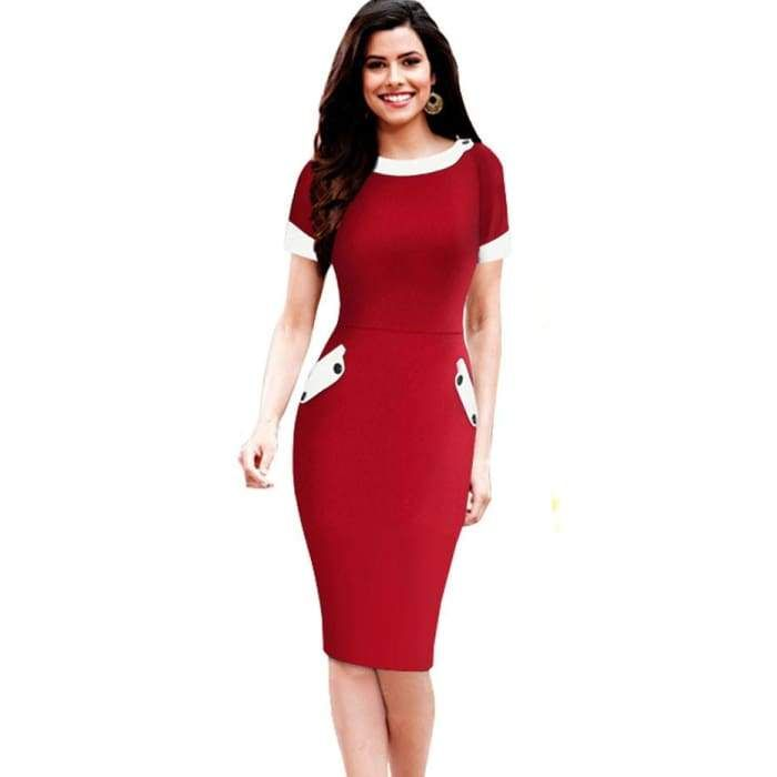 4cc94da128 Nice-forever Ladies Office elegant Women Tunic Plus Size Work Dress button  Short Sleeve Bodycon Business Pencil Midi Dress 832