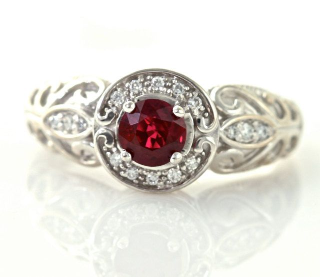 14k vintage ruby ring diamond halo ruby engagement ring custom art nouveau 14k white yellow gold - Ruby Wedding Rings