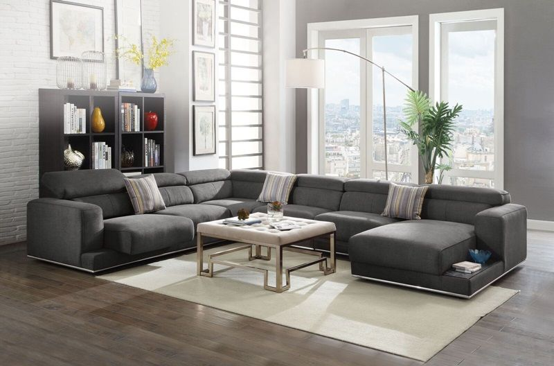 Alwin Modern Sectional Sofa In Dark Gray Modular Design Adjustable Headrests And Seat Built In End Table Cocktail Ottoman Also Avail Modular Sectional Sofa Sectional Sofa With Chaise Grey Sectional Sofa