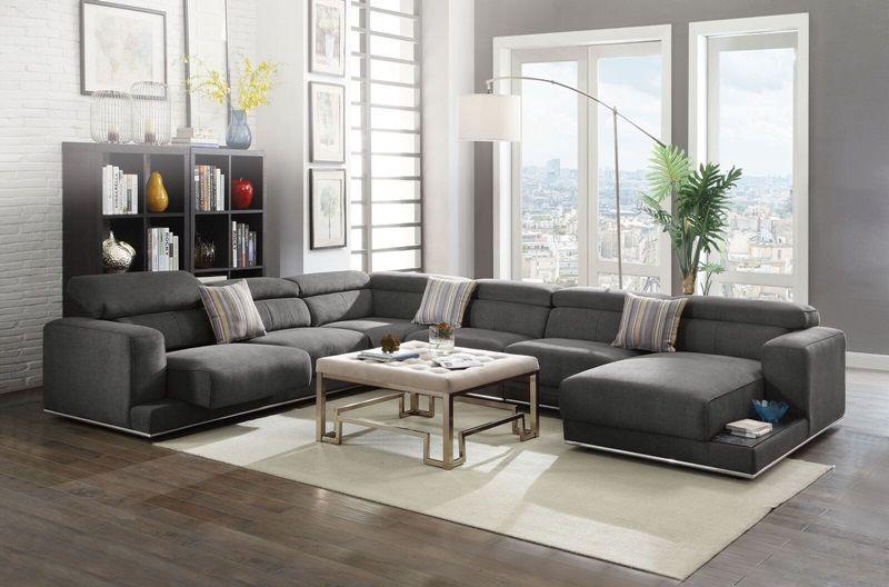 Admirable Alwin Modern Sectional Sofa In Dark Gray Modular Design Theyellowbook Wood Chair Design Ideas Theyellowbookinfo