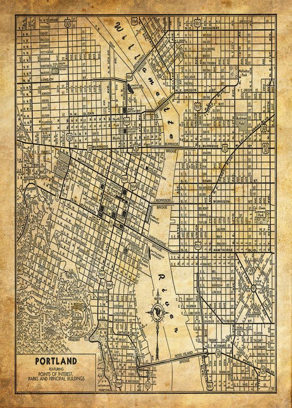 Portland Oregon Street Map Vintage Print Poster Grunge | ¿::who::AM ...
