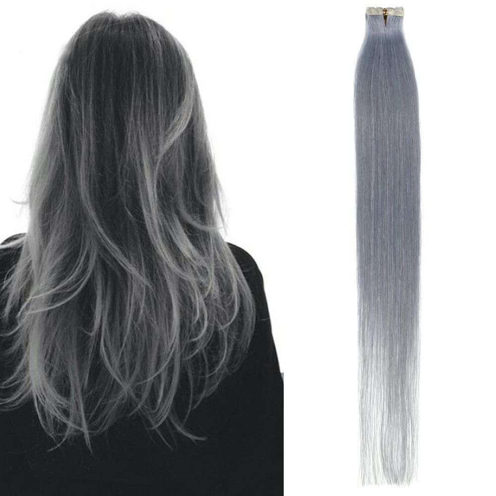 30gr Gray Seamless Straight Remy Tape In Skin Weft Hair Extensions