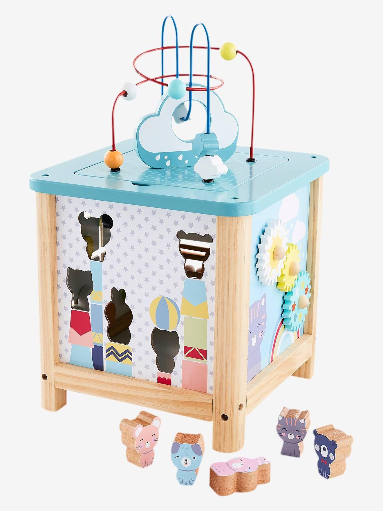 Grand Cube D Activites En Bois Multicolore Un Cube D Activites En Bois Taille Xl Qui Ne Manque Pas D Idees Pour Eveiller Et E Cube D Activite Cubes Jeux Bebe