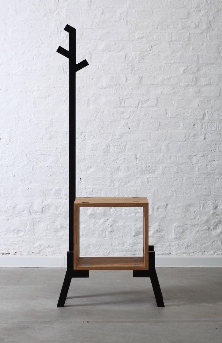 porte manteau wood steel muebles mueble repisa. Black Bedroom Furniture Sets. Home Design Ideas
