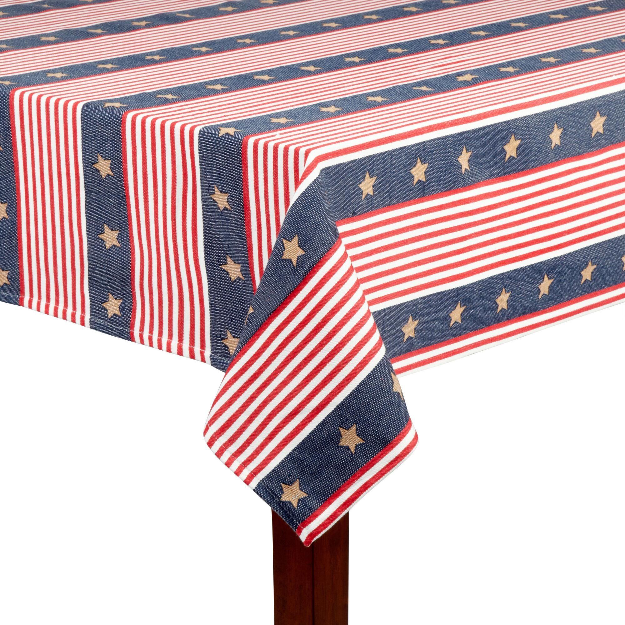 Usa Flag Stripe Jacquard Tablecloth Christmas Tree Shop Furniture Gifts Usa Flag