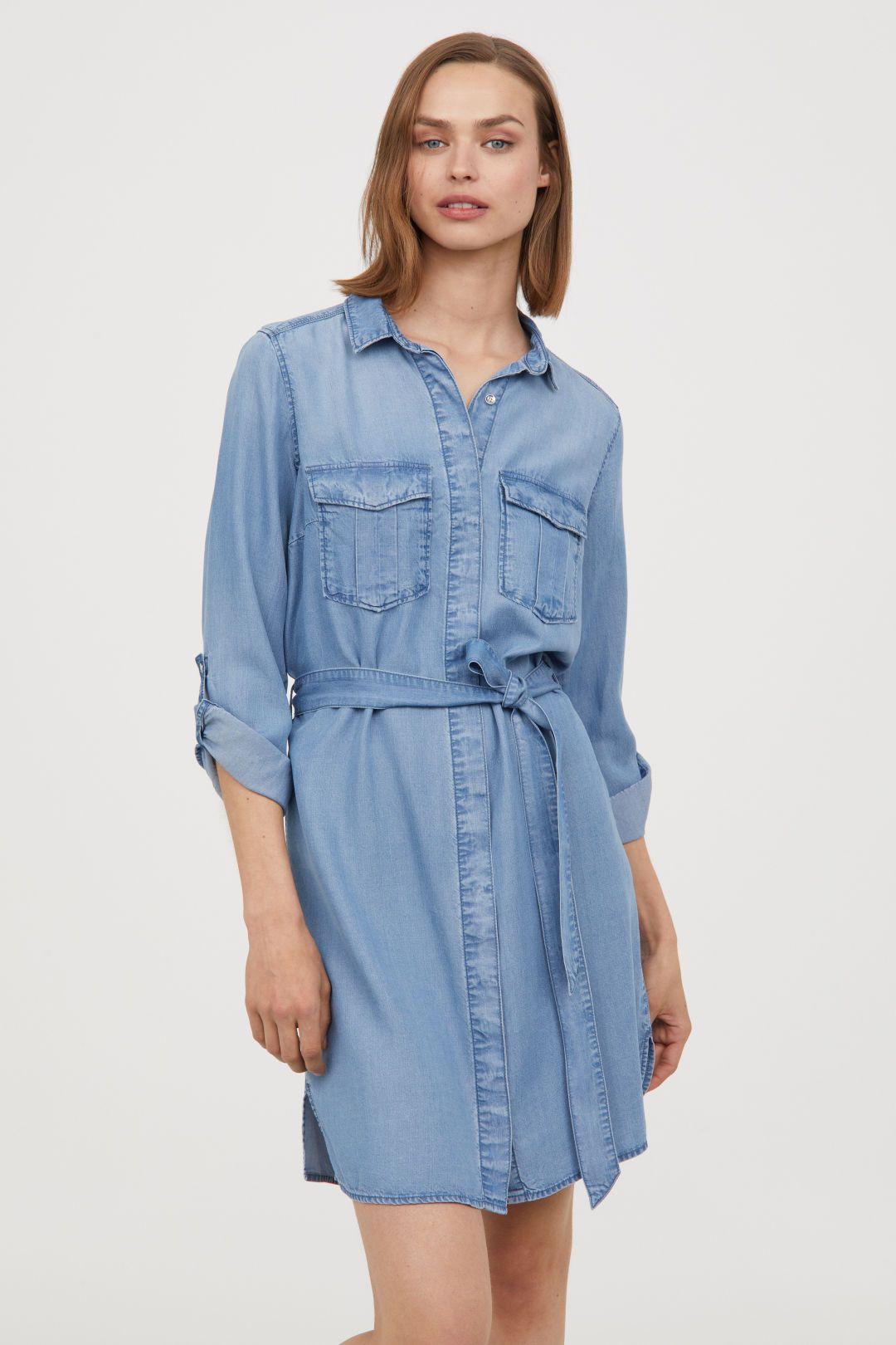 Denim Shirt Dress - Denim blue - Ladies | H&M US | Denim shirt ...