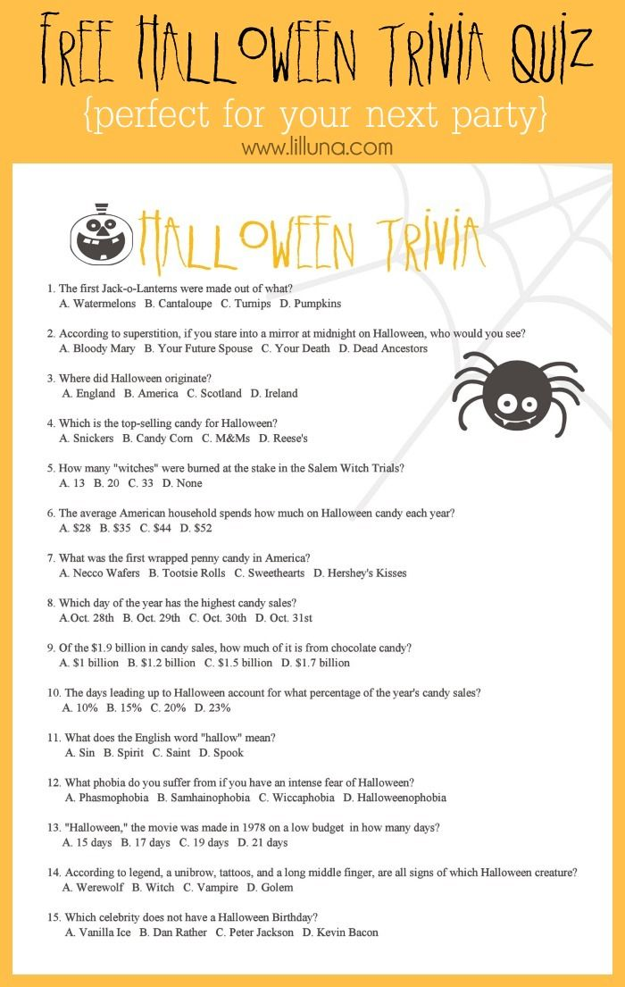 free halloween trivia game perfect for your upcoming party - Halloween Monster Trivia