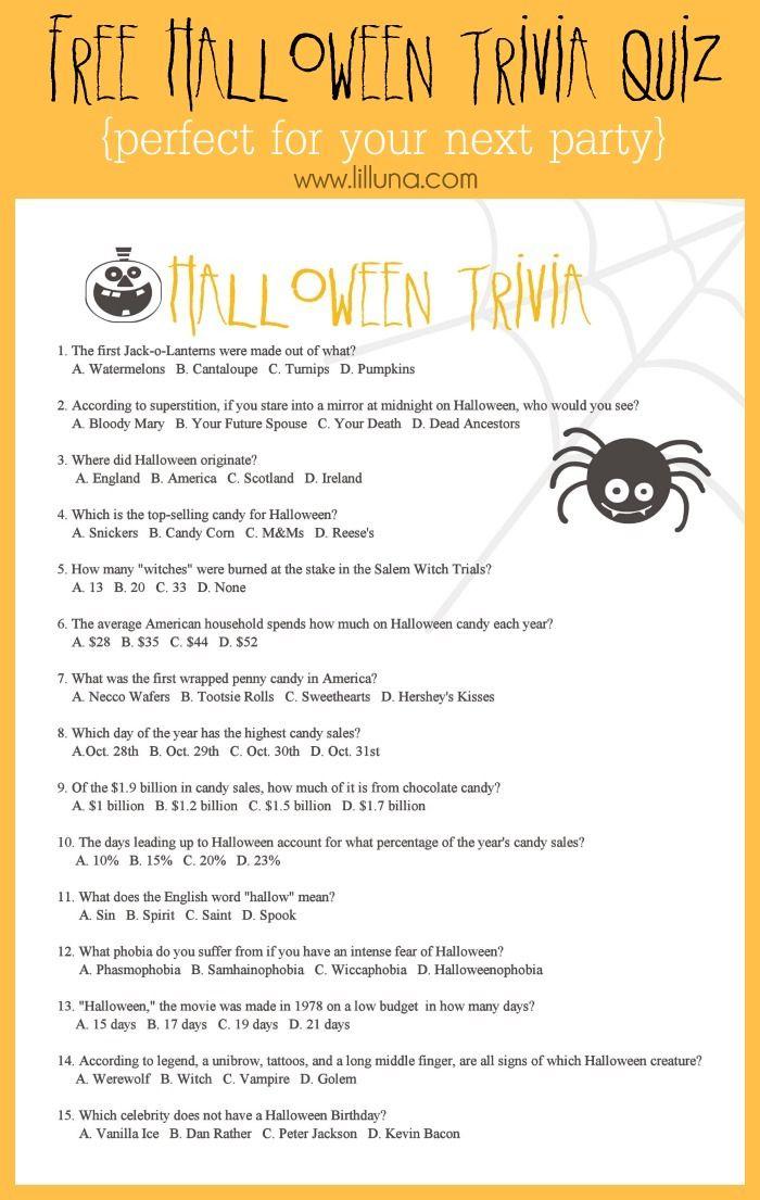 FREE Halloween Trivia Quiz Halloween facts, Halloween