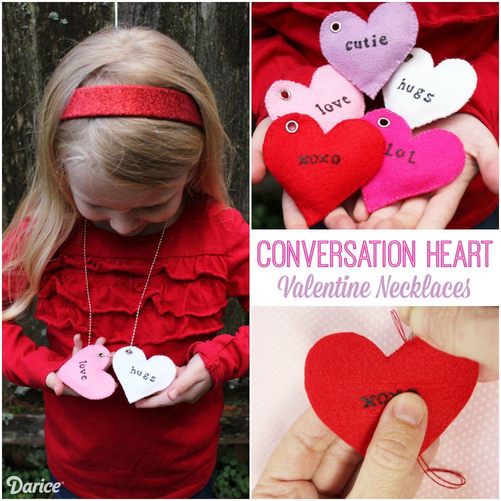 Valentine Craft Necklaces Felt Conversation Hearts Darice