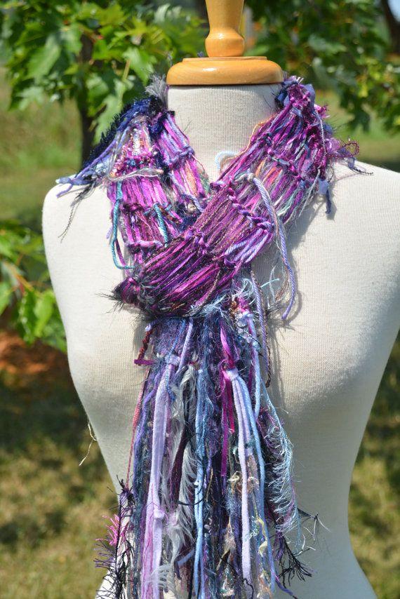 Hand knit Fringed Skinny Knit Ribbon Scarf - Dumpster Diva \'Fuscia ...