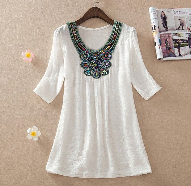 2015 Summer New Women Floral Embroidery Plus Size XXXL Loose Blouse Shirts  7 Candy Colors Chiffon