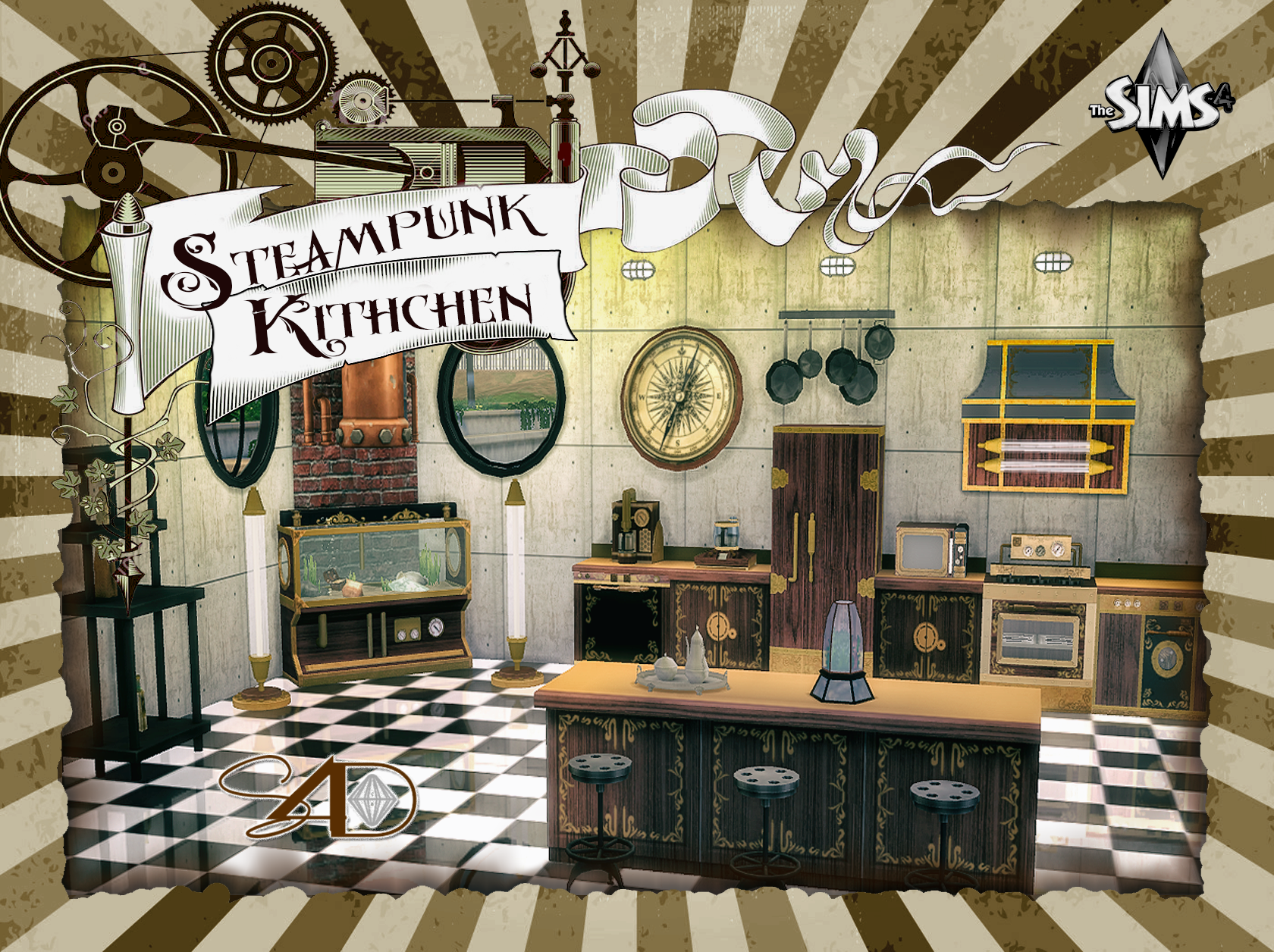 Sims 3 Küche Modern Ts3 To Ts4 Steampunk Kitchen Sims 4 Designs Sims 4
