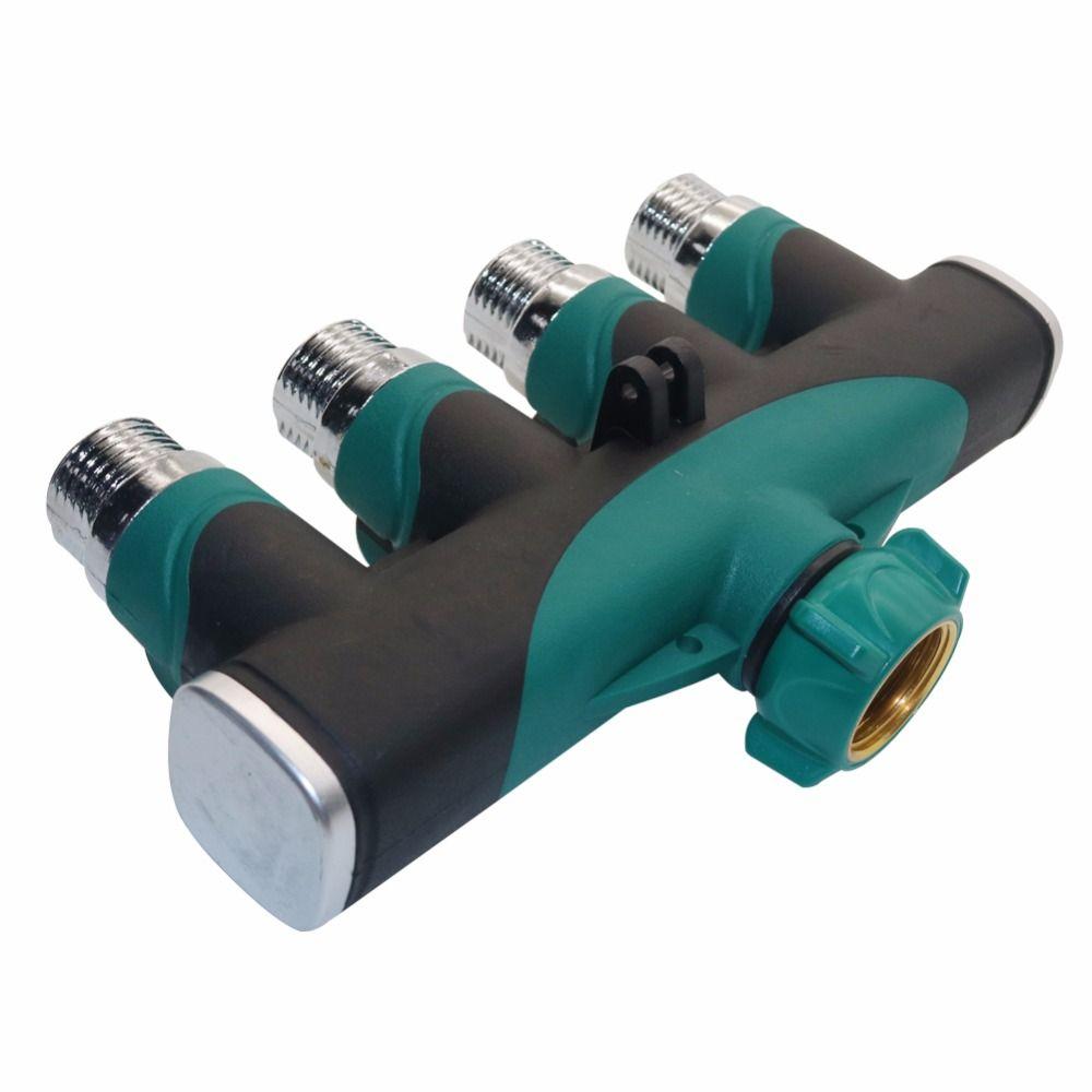 1 pcs 4 Way Garden Hose Connector Zinc alloy Splitter Adapter Fits ...