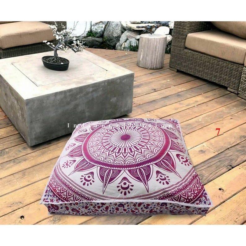 Floor Cushions, Outdoor Furniture Mandala Pouf, Square ...