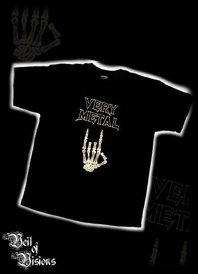 "Black t-shirt with embroidered text: ""Very Metal"" with a skeleton hand. Design will not fade or crack like print! £19"
