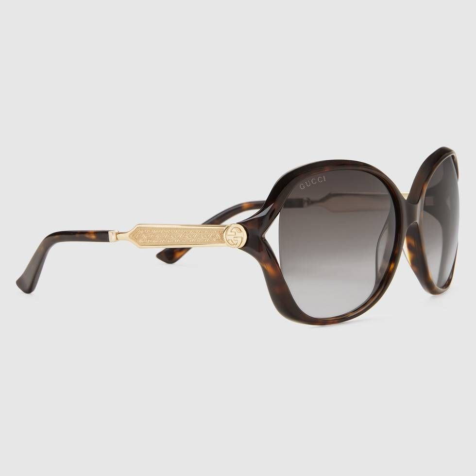 e70ec31212d Shop the Oversize round-frame acetate and metal sunglasses by Gucci. null