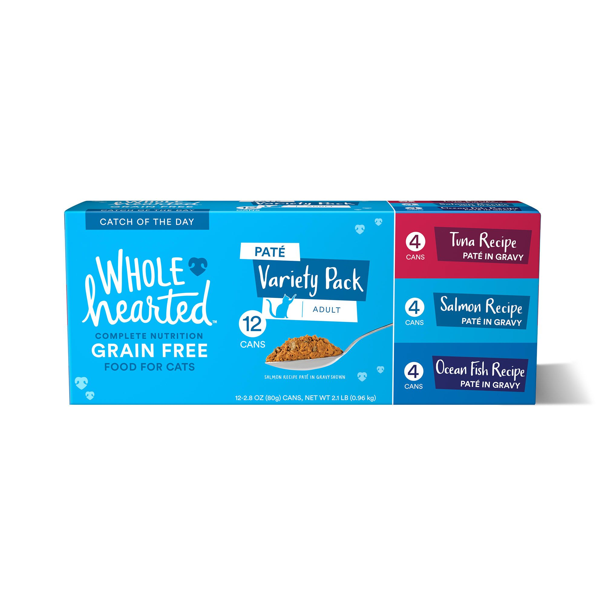 Wholehearted Grain Free Pate Catch Of The Day Wet Cat Food Variety Pack For All Life Stages 2 8 Oz Petco In 2020 Wet Cat Food Cat Food Variety Pack