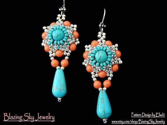 Turquoise and Coral Beaded, Bead Woven, Seed Bead Drop Earrings by BlazingSkyJewelry on Etsy, $19.20