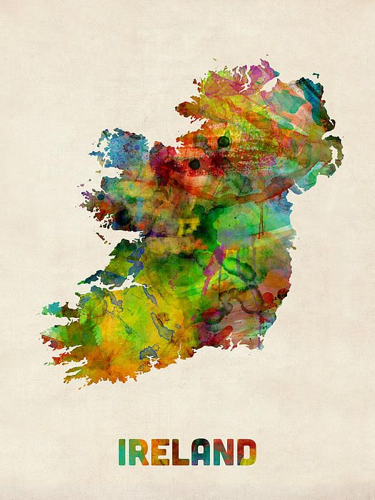 Ireland Eire Watercolor Map By Michael Tompsett Watercolor Map