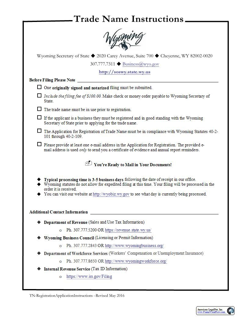 This Is A Wyoming Form That Can Be Used For Trade Name Within