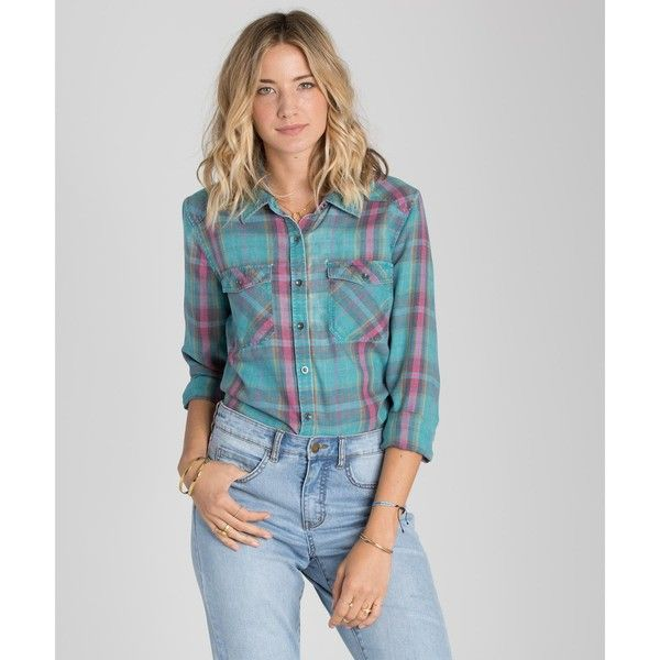 Billabong Women's Flannel Frenzy Shirt (65 CAD) ❤ liked on Polyvore featuring tops, emerald bay, woven tops, burnout long sleeve shirt, long sleeve woven shirt, long sleeve shirts, shirt tops and flannel top