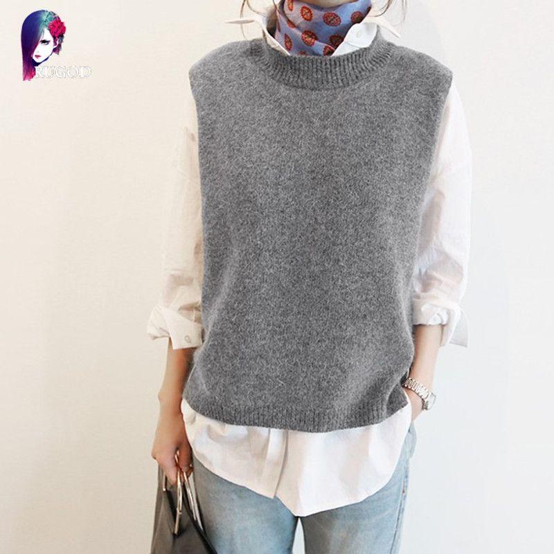 New Cashmere Vest Women Korean Sleeveless O-Neck  6223be989