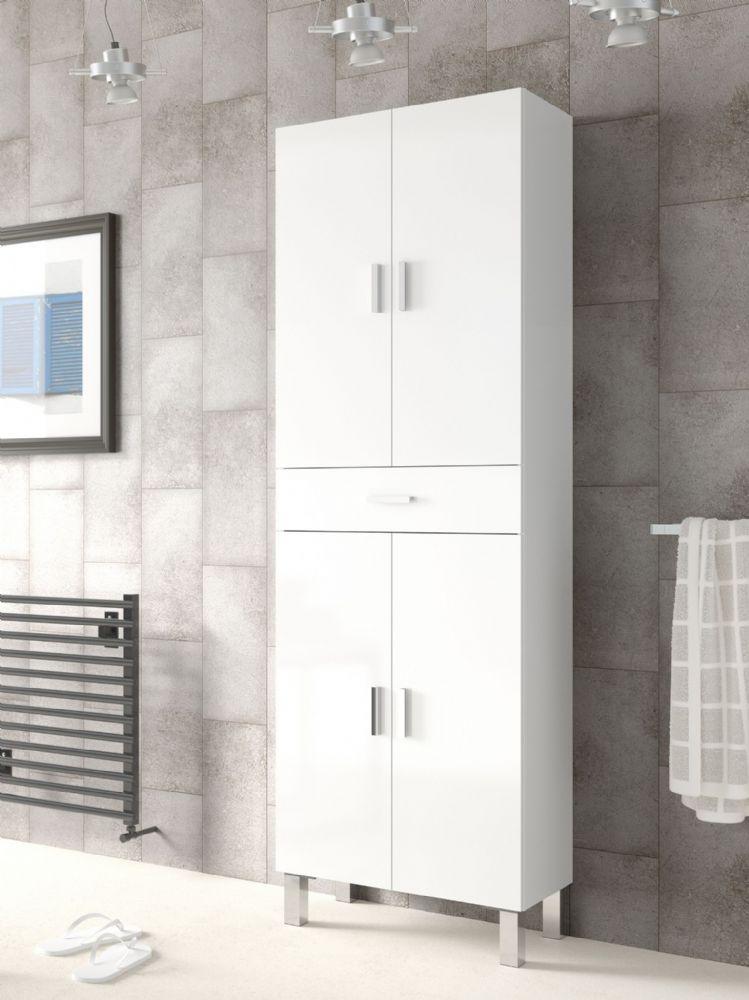 Rimini Tall Bathroom Cupboard White Gloss Bathroom Tall Cabinet Tall Cabinet Storage Tall Bathroom Storage