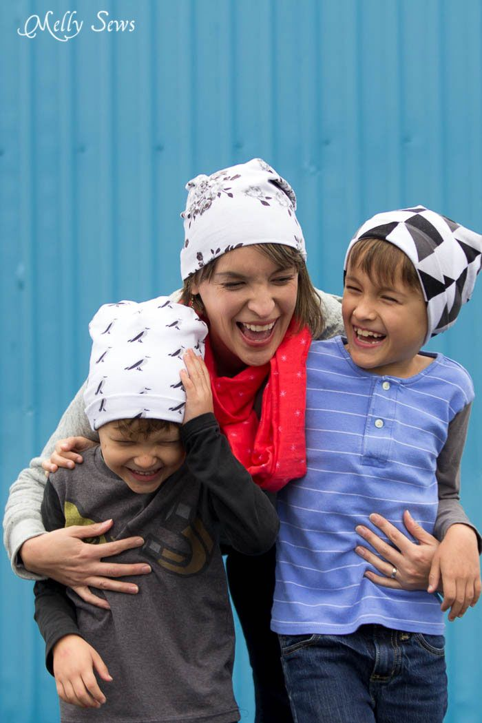 2324a89e12d Mom and boys laughing - Sew a Beanie Hat - Make a slouchy hat in any size  with this EASY tutorial - Melly Sews