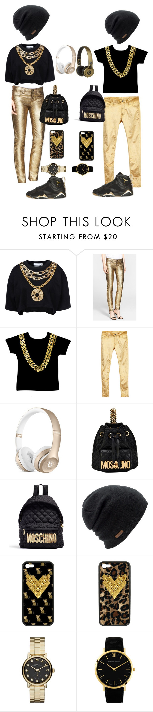 """""""bf+gf"""" by sanniahw ❤ liked on Polyvore featuring beauty, Moschino, Versace, Retrò, Ann Demeulemeester, Coal, Wildflower, Marc by Marc Jacobs and Larsson & Jennings"""