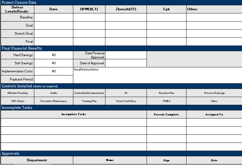 Project Closure Template Excel Free Download  Project Management