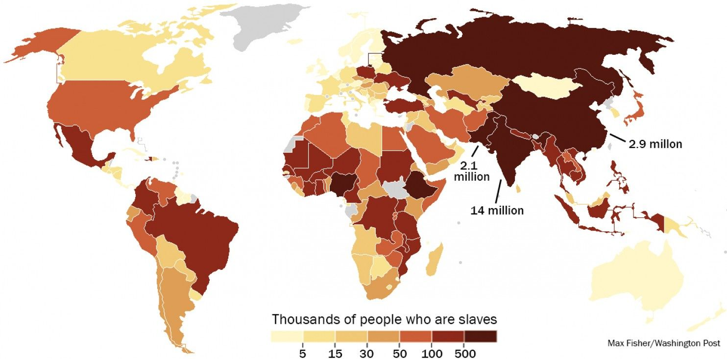 This map shows where the worlds 30 million slaves live there are this map shows where the worlds 30 million slaves live there are 60000 in the gumiabroncs Images