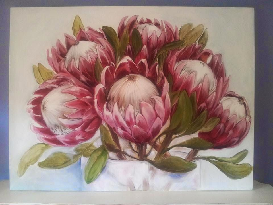 The Smosh May Art Available Floral Painting Floral Art Protea Art