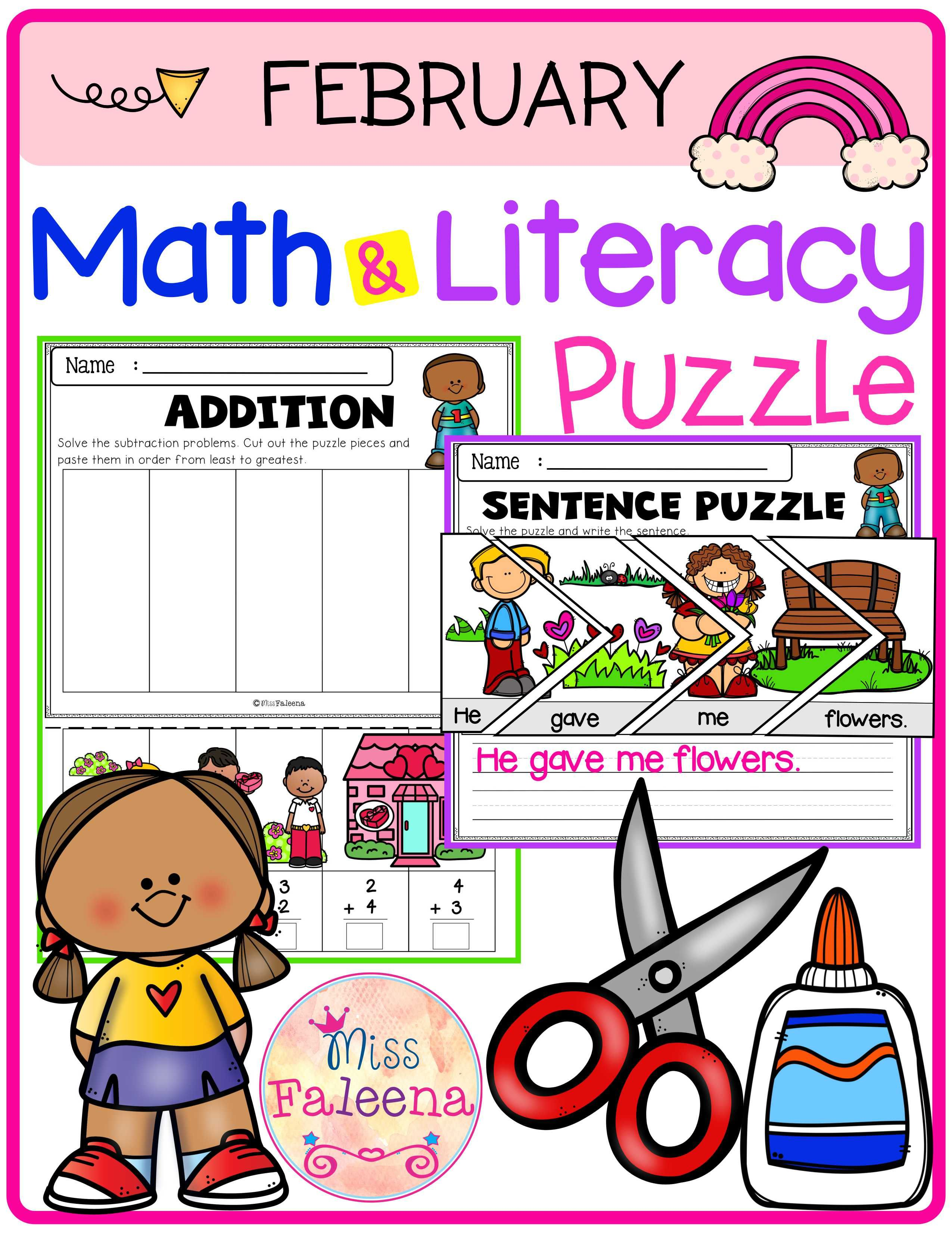 February Math And Literacy Puzzles