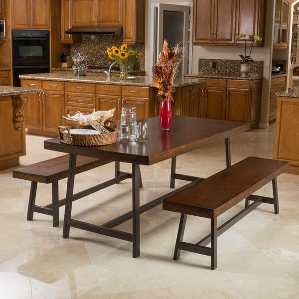 Picnic Table Dining Room: Marion Wood 3-piece Picnic Dining Set By Christopher