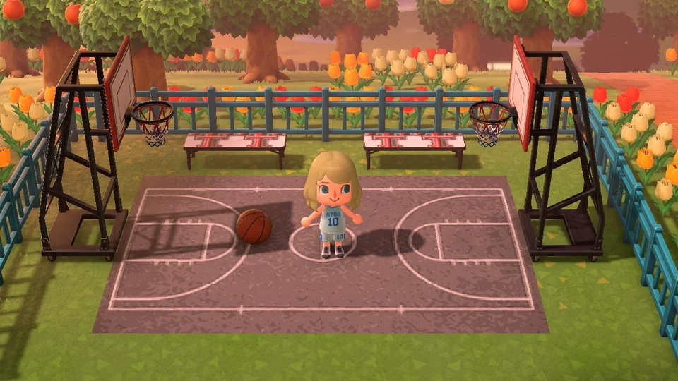 Made a blacktop basketball court! AnimalCrossing in 2020