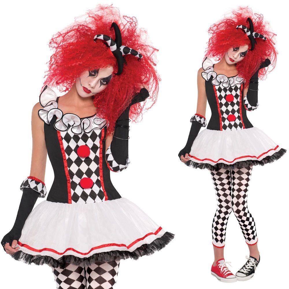 Women Black White Tights Harlequin Halloween Fancy Dress Circus Clown Jester