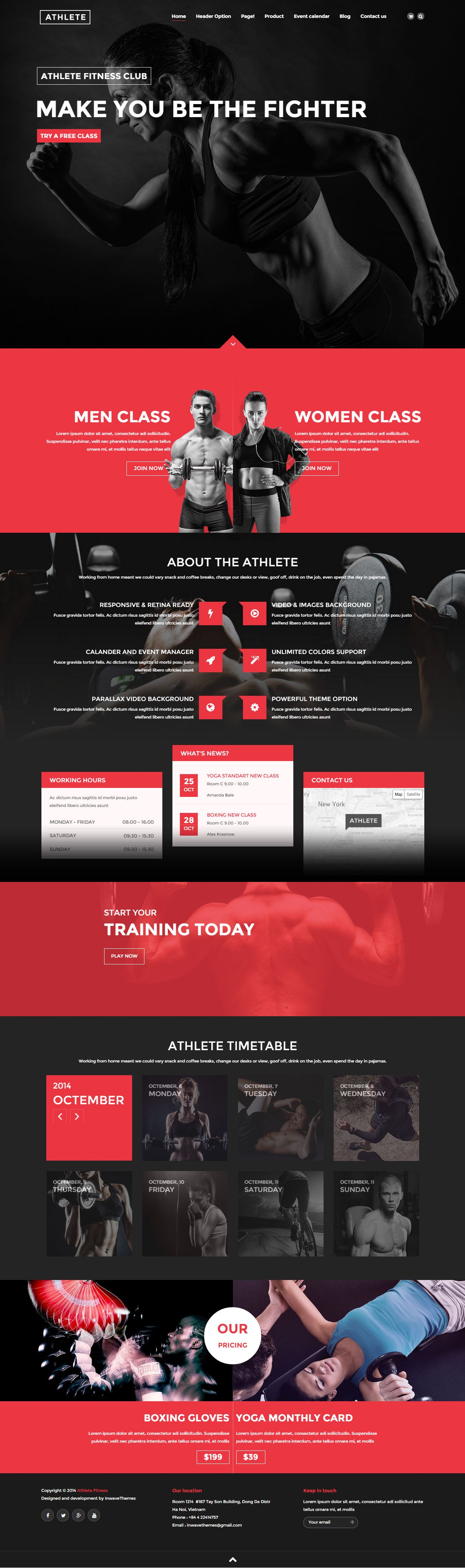 Parallax Website Template Athlete Is Premium Full Responsive Retina Html5 Fitness Template