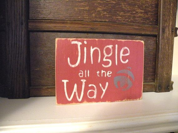 Jingle all the Way Wooden Christmas Decoration in Red and White - wood christmas decorations