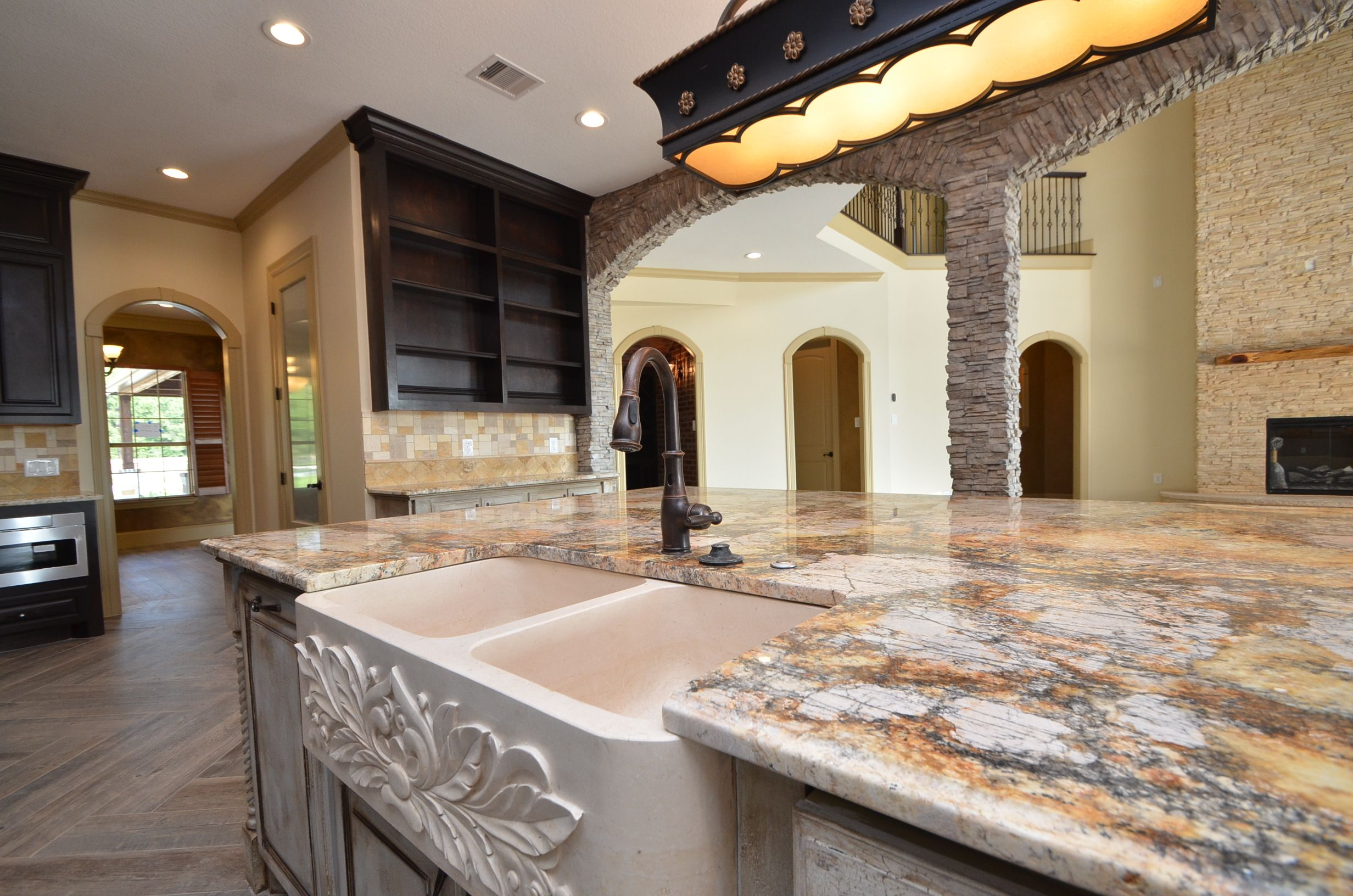 Kitchen Remodel with a beautiful sink Remodel by Sapphire Custom Homes#SapphireCustomHomes#CustomHomeBuilder#Remodel#Kitchen#StoneAccentWall#Acreage#Texas#RealEstate#RusticHome#Farmhouse